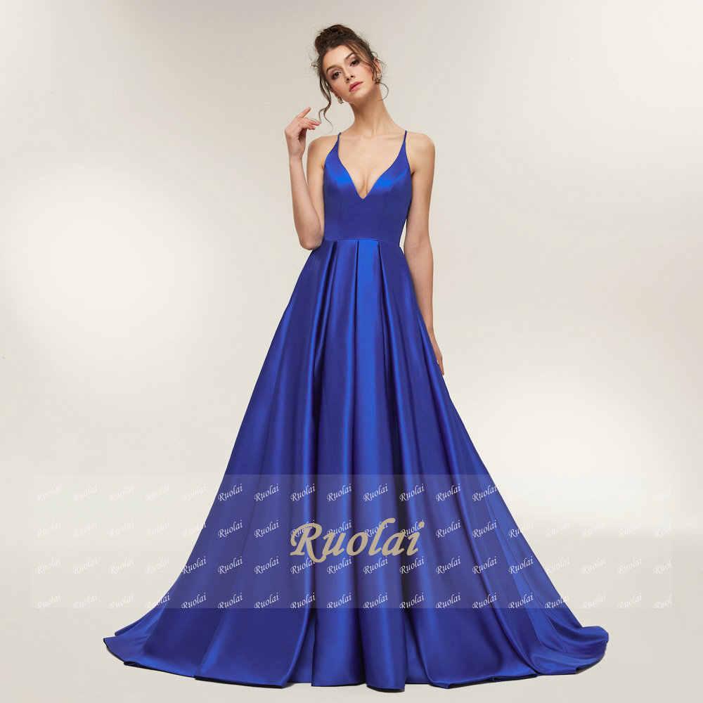 f8aab4bfa3a ... Королевское синее сексуальное Атласное Вечернее платье 2019 длинное  ТРАПЕЦИЕВИДНОЕ выпускное платье вечернее платье с открытой спиной ...
