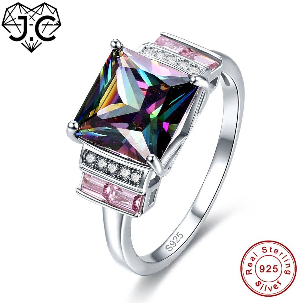 J.C Amethyst Rainbow Fire Mystic Pink Blue Topaz Real 925 Sterling Silver Ring Size 6 7 8 9 Women Gorgeous Wedding Fine Jewelry