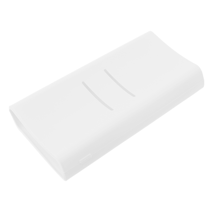 1pc Anti-slip Silicone Protection <font><b>Case</b></font> Cover For Xiaomi <font><b>mi</b></font> <font><b>2C</b></font> 20000mAh Powerbank Protector Sleeve <font><b>Power</b></font> <font><b>Bank</b></font> Accessories White image