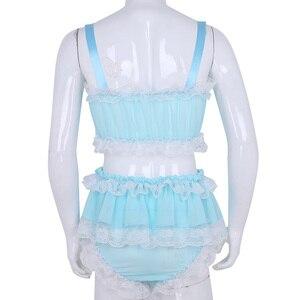 Image 4 - Ensemble Lingerie Sissy pour hommes, haut court avec jupe, en mousseline de soie transparente à volants, vêtements de nuit, culotte Sexy pour hommes