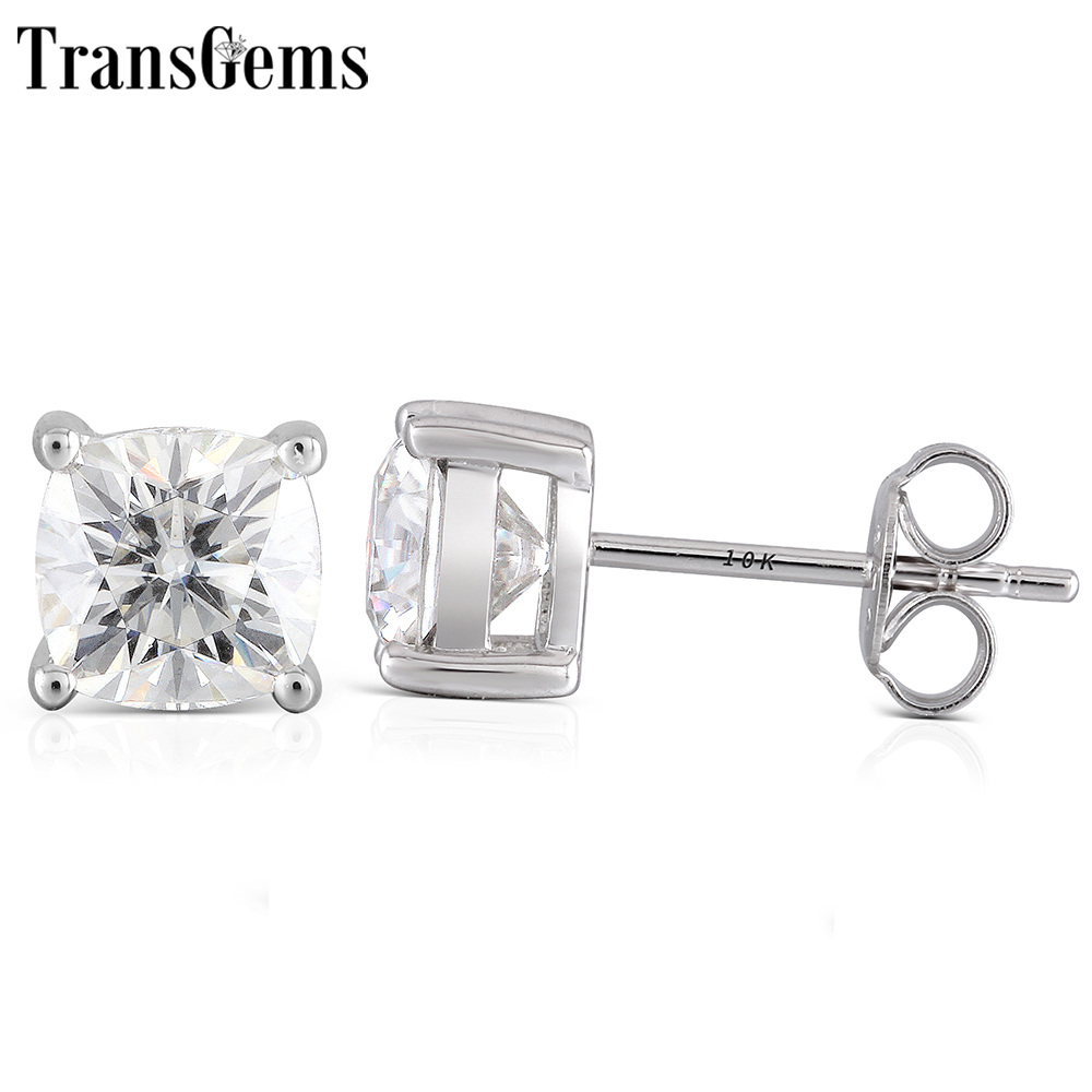 Transgems Sterling 925 Platinum Plated Silver Cushion Cut Moissanite Earrings for Women Center 6mm HI Color Cushion Cut Earrings transgems platinum plated silver 2 15ctw 5x7mm h color cushion cut moissanite simulated diamond earrings for women