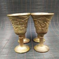 Chinese Archaize Collection Brass Dragon Phoenix Cup One Set