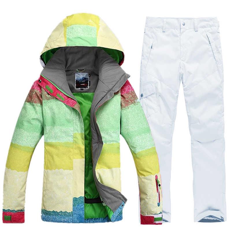 Лыжный костюм Женская водонепроницаемая Лыжная куртка для сноубординга комплект ветрозащитный термальный Сноубординг костюмы лыжный зимний костюм