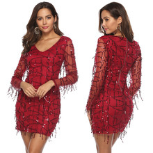 Sexy Fringed Dress Sequin Red Tight Tassel Short Party Plus Size 2XL Women New Long Sleeve Bandage vestidos de fiest