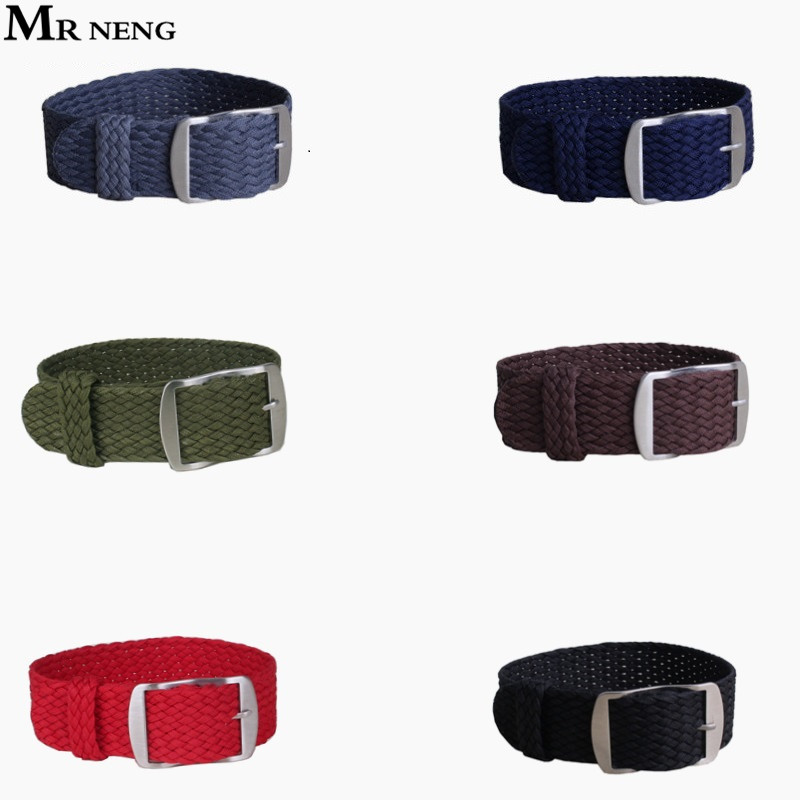 MR NENG Brand 1 PCS / Wholesale Fashion Nylon Woven Watchband Watch Strap 20mm 22mm for Perlon Black Navy Color Watch Strap free shipping wholesale black brown perlon strap braided watch strap 20mm watchband with buckle