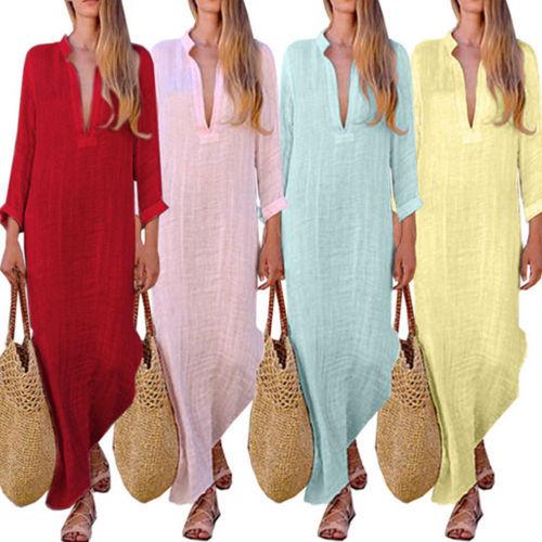 b4ec8e31084 Fashion Autumn Women Peasant Ethnic Boho Cotton Linen Long Sleeve Maxi  Dress Gypsy Dresses