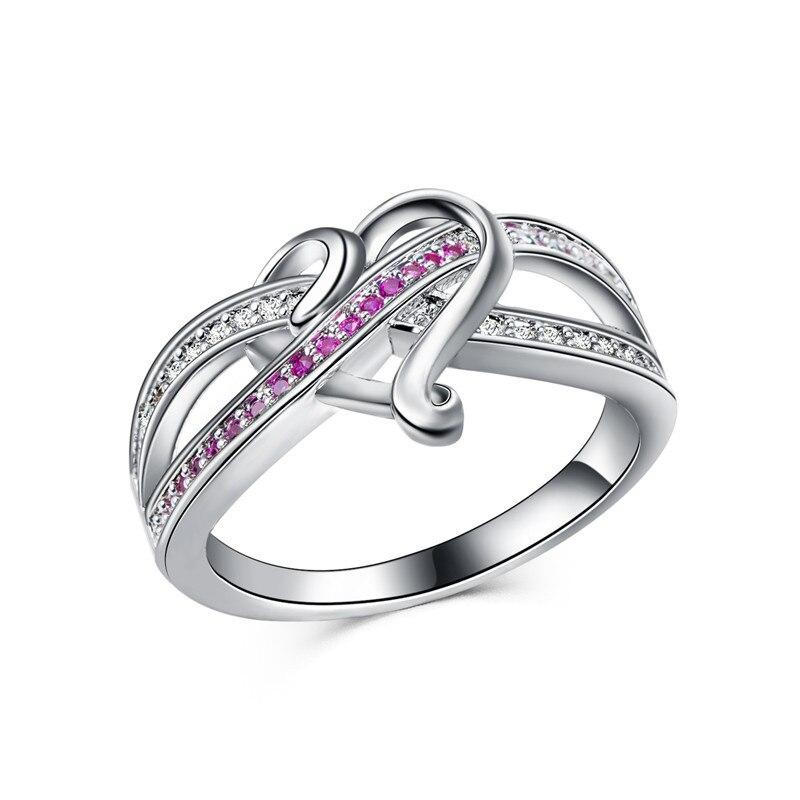 Mode dame liebe herz-förmigen Cooper ring zirkon Cooper persönlichkeit zwei-farbe ring BR02