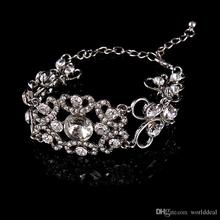 50pcs/lot Wedding Jewelry Crystal Bracelet Hand Chain Bride Bangle Ladies Party Banquet Wristband jb202