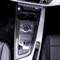 Car Styling Carbon Fiber Gearshift Decoration Frame Cover Gear Panel Stickers Trim For Audi A4 B9 2017 2019 Auto Accessories