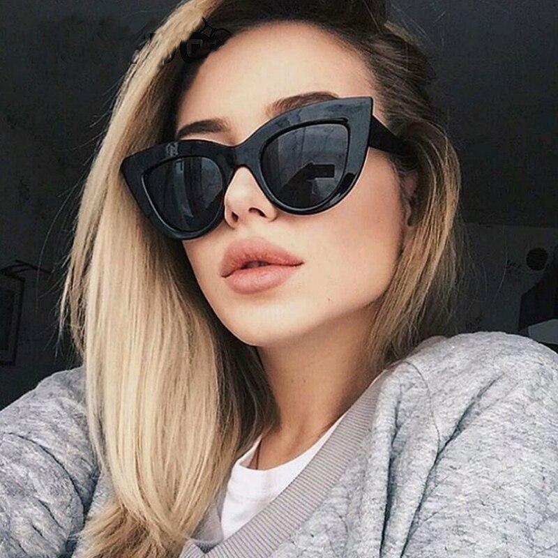 bc7e3408b4714 GOOD WIN Vintage Super Cat Eye Sunglasses Retro Women Cateye Thick Frame  Gradient Gray Reflective Ladies Fashion oculos de sol -in Sunglasses from  Apparel ...