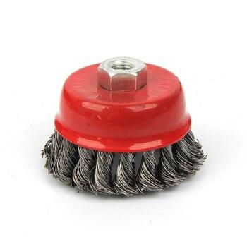 Cepillo de amoladora de ángulo rotativo rojo duradero fuerte óxido limpiar nudo de Metal Copa plana alambre de acero Borde de rueda mezcla rápida