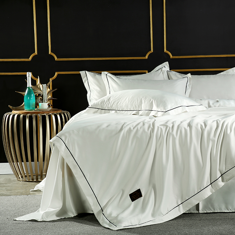 ParkShin White Luxury Bedding Set Silk Soft Double Bed Duvet Cover Silky Bedspread Bed Sheet Set Queen King Adult Bed Linen Set-in Bedding Sets from Home & Garden    3