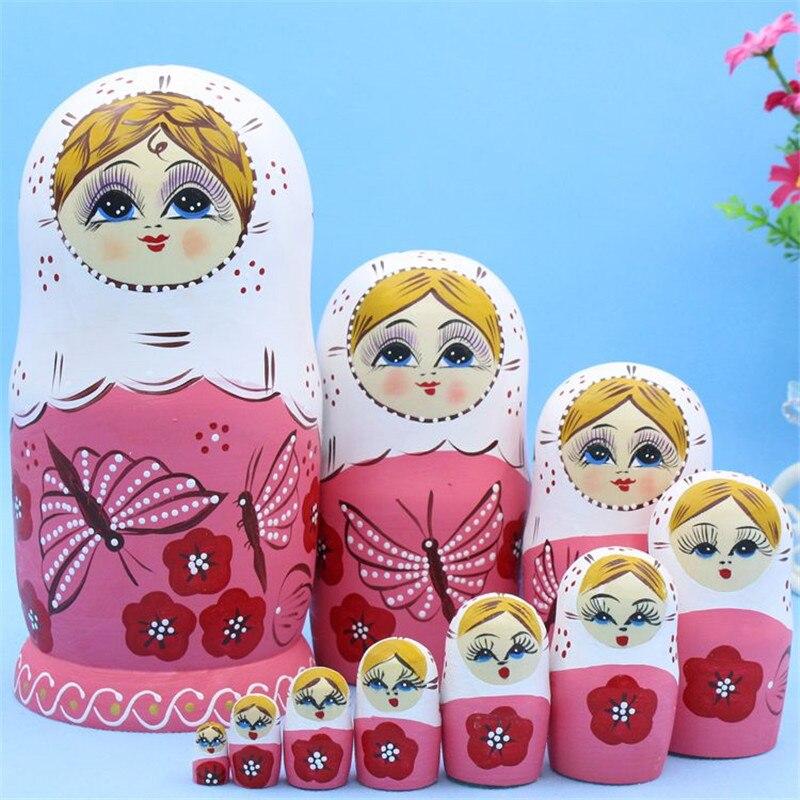 10 couches rose papillon russe nidification poupées sec tilleul Matryoshka poupée L30 bricolage éducation jouets peints pour les enfants