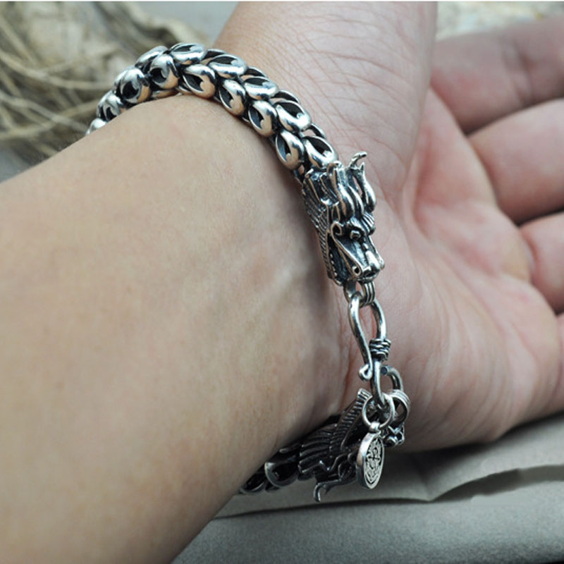 Heavy Thai Silver 925 Sterling Silver Dragon Scale Bracelet Men Domineering Vintage Punk Rock Antique Fashion Jewelry Best Gift 925 sterling silver men bracelet dragon scale bracelet men s coarse heavy thai silver chain punk fashion personality bracelet