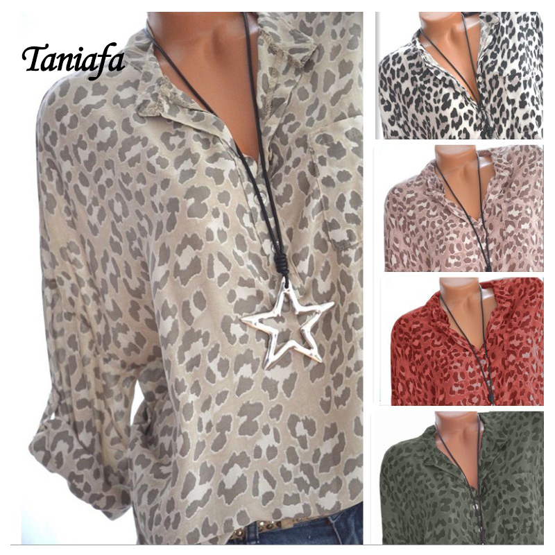 5d8610bd33 Blouses Leopard Print Long Sleeve V-neck Shirt Sexy Casual Plus Size