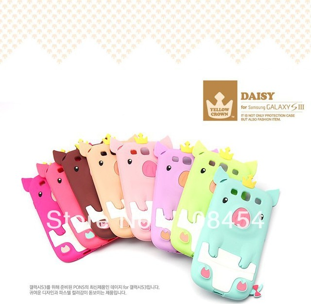 hot selling Newest 3D Pig pattern cute cartoon silicon case For Samsung galaxy s3 s iii i9300 1pcs/lot Free shipping