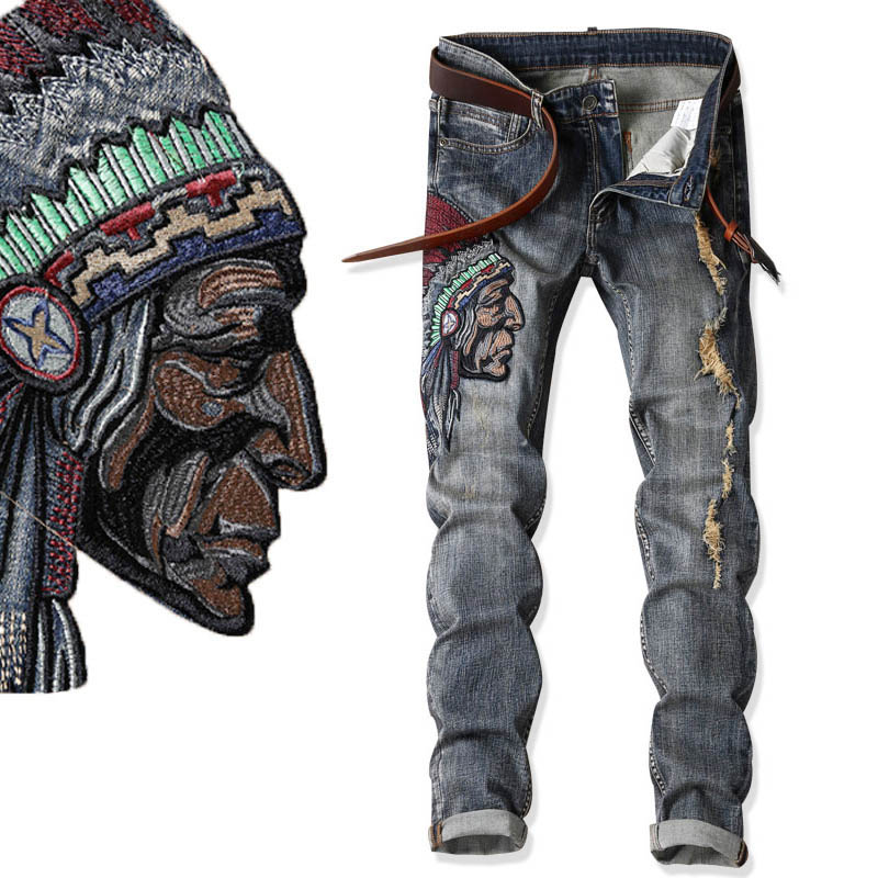 Native American Indian Chief Embroidery Jeans Men Ethnic Patch Punk Distressed Designer Street Fashion Cool Jean Unique Denim native корректирующие шорты