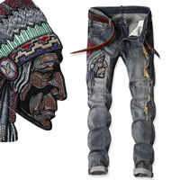 Native American Indian Chief Embroidery Jeans Men Ethnic Patch Punk Distressed Designer Street Fashion Cool Jean Unique Denim