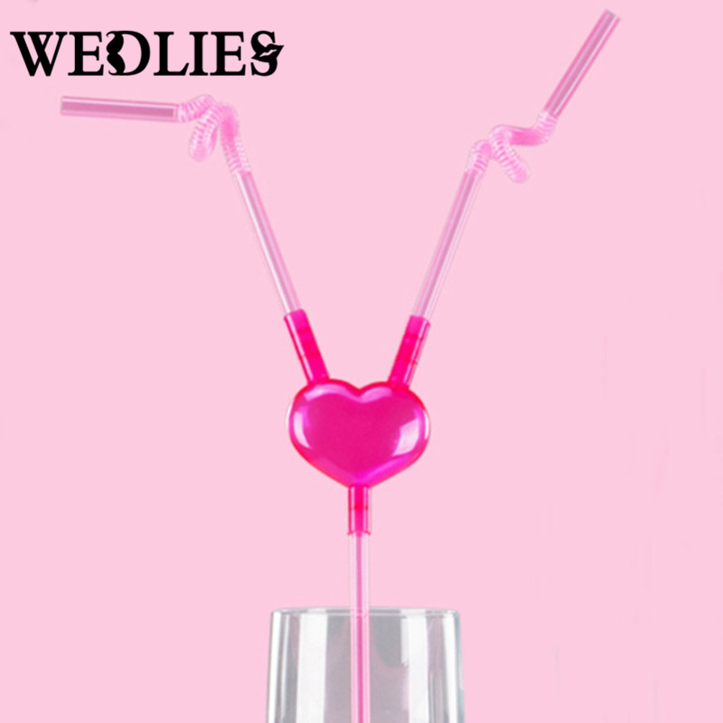 Disposable Food Grade PP Straws Pink Heart Drinking Straw Events Party Supplies Birthday Wedding Decoration Party Favors Gifts