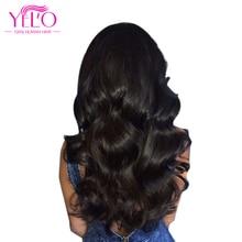 Йело волос бразильский Объёмные локоны не Реми бразильские пучки волос плетение 10-26 дюймов 100% Человеческие волосы натуральный Цвет 1 шт.