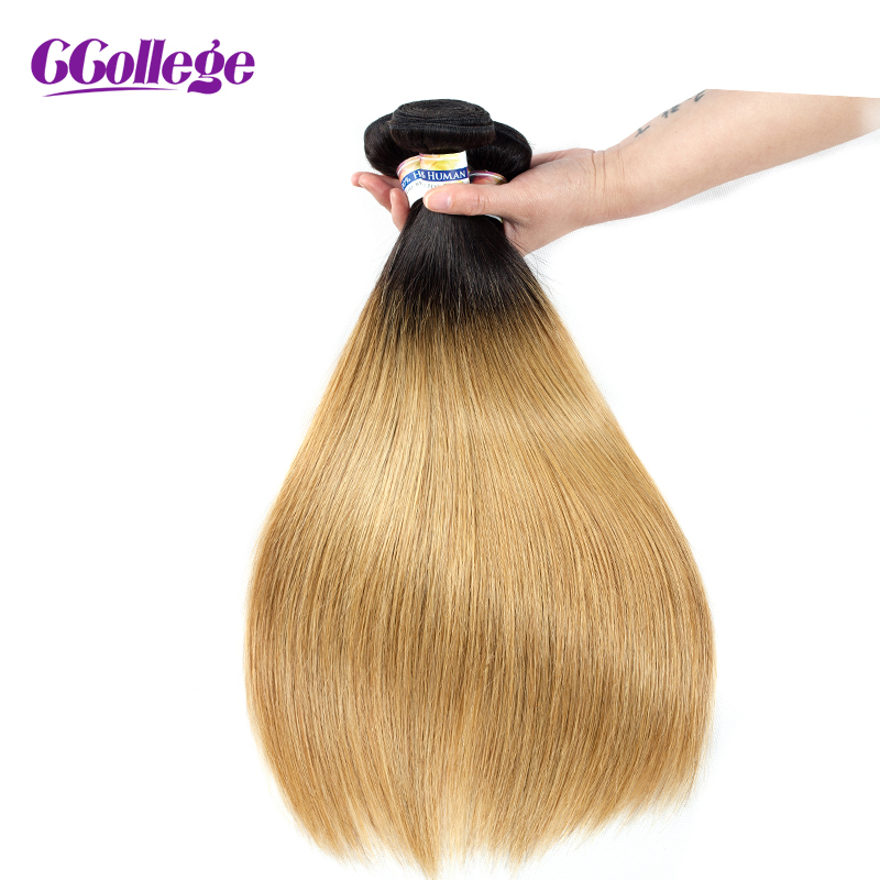 CCollege Brazilian Hair Straight Bundles T1B 27 Natural Black Brown Blonde Color Ombre Hair Bundles Remy