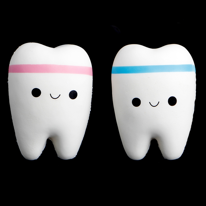 Cute Tooth Jumbo Squishy Slow Rising Squeeze Stress Hand Soft Toy Phone Pendant W30 10pcs slow rising soft squeezing charms stress release toy