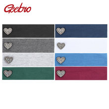 Geebro Girls Headbands Cute Heart Rhinestones Head Band for Girl Newborn Boys Elastic Hair Turban Headbands Geometric Bands(China)