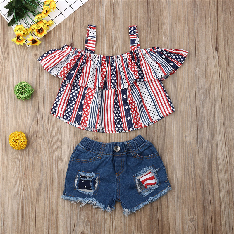 2019 Short Sleeve Off Shoulder Top Blouse Denim Shorts 4th July Outfits Independence Day Toddler Kid Baby Girl Clothes Set