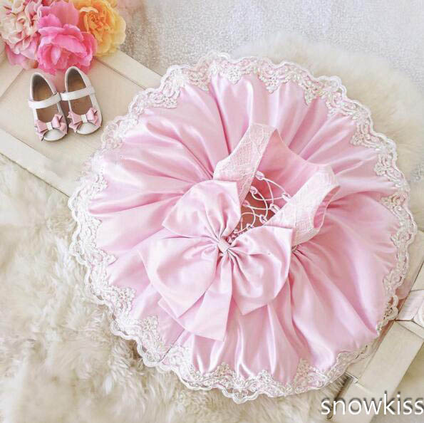 pink cute baby girl summer dress Cute crew neck puffy lace appliques open back kids 1st birthday outfits with bow spaghetti strap chiffon open back dress