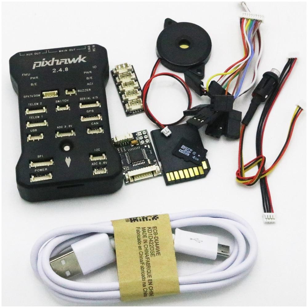 Pixhawk PX4 Autopilot PIX 2.4.8 32 Bit Flight Controller + Safety Switch + Buzzer 4G SD +I2C Splitter Expand Module + USB cable