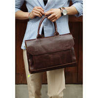 Retro Men's Briefcase Crazy Horse Leather Laptop Handbag Business Men Messenger Bags Leather Laptop Bag