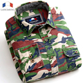 Langmeng 100% Algodão Camuflagem camisa Verde Homens Do Exército Combate Camo Militar Meisai Camisas Casuais de manga Comprida Roupas Masculinas