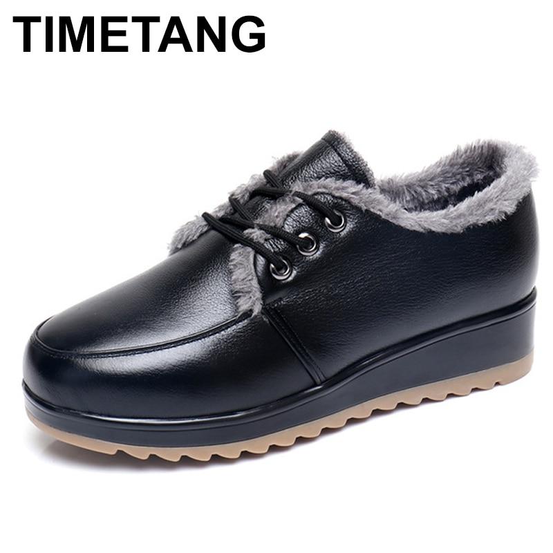 TIMETANG 2017 Winter Woman boots Shoes Snow Boots Plush Lady's Trend Cotton-padded Shoes Auto Lady Warm Shoes Women Plus Size 42 цена
