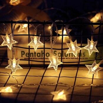 2019 новый год, 1,5 м, 3 м, 6 м, светодиодный гирлянда со звездами, водонепроницаемая гирлянда для рождества, свадьбы, домашнего украшения, на бата...
