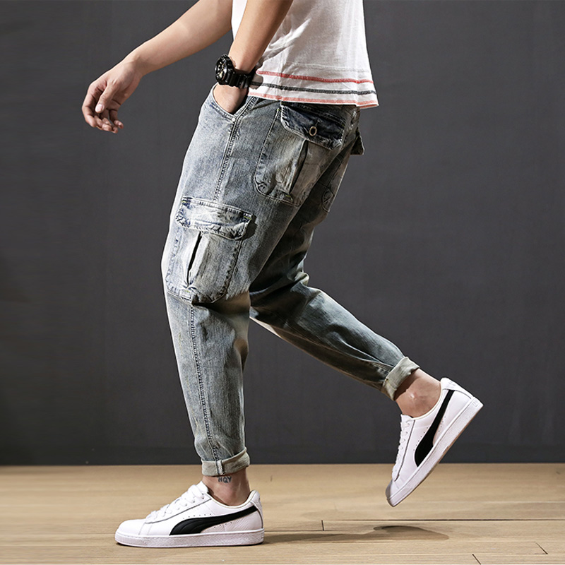 Fashion Streetwear Men Jeans Retro Blue Wash Multi Pockets Denim Cargo Pants Harem Trousers Small Leg Summer Hip Hop Jeans Men