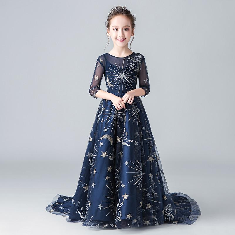 2019 Kids Girl Lace Prom Gown Kid Girl Elegant Princess Wedding Birthday Party Dress Children Star Pageant Trailing Dress Q8532019 Kids Girl Lace Prom Gown Kid Girl Elegant Princess Wedding Birthday Party Dress Children Star Pageant Trailing Dress Q853