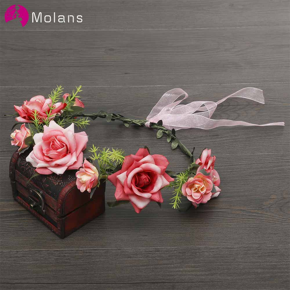 MOLANS Beautiful Romantic Rose Flower Crown For Women Simple Stimulation Flower Plastic Leaves Ribbons Headpiece For Vacation