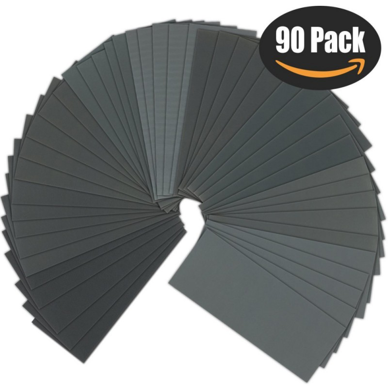 90pcs / Set Disc 9*3.6  Inch 60#-5000#  Round Sandpaper Sand Grain Sheets Hook And Ring Sanding Disc For Sander Polishing Tool