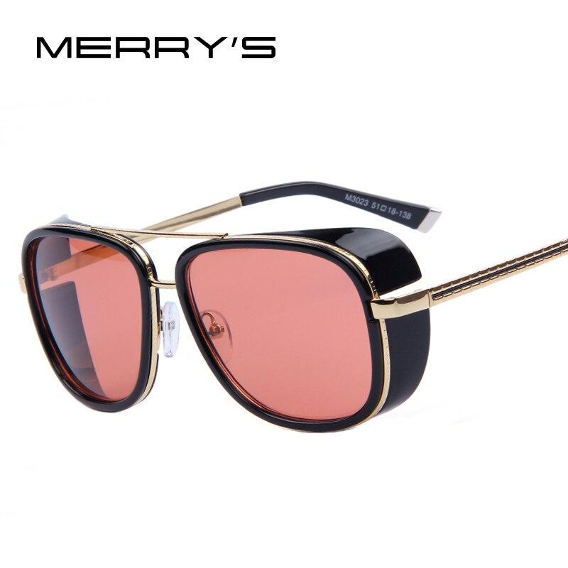 MERRY'S ЖЕЛЕЗНЫЙ ЧЕЛОВЕК 3 Мацуда ТОНИ Стимпанк Солнцезащитные очки Мужчины Зеркальный Дизайнерский Бренд Очки Урожай Солнцезащитные очки