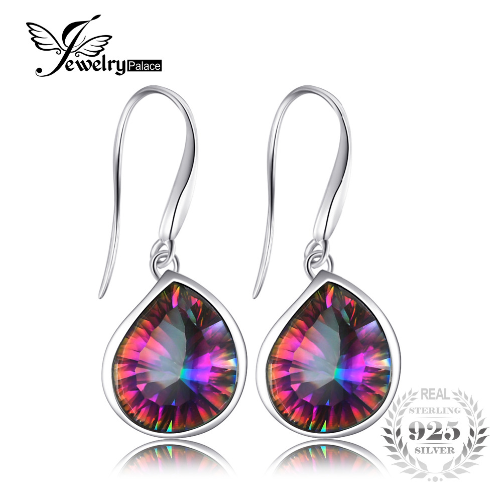 JewelryPalace 6ct Genuine Natural Rainbow Fire Mystic Topaz Dangle Earrings 925 Solid Sterling Silver Sets Luxury Gift For Women jewelrypalace 28ct natural fire rainbow mystic topaz bracelet tennis for women gift love pure 925 sterling silver fine jewelry