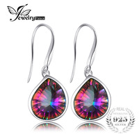 8 6ct Genuine Natural Rainbow Fire Mystic Topaz Dangle Earrings 925 Solid Sterling Silver Sets Luxury