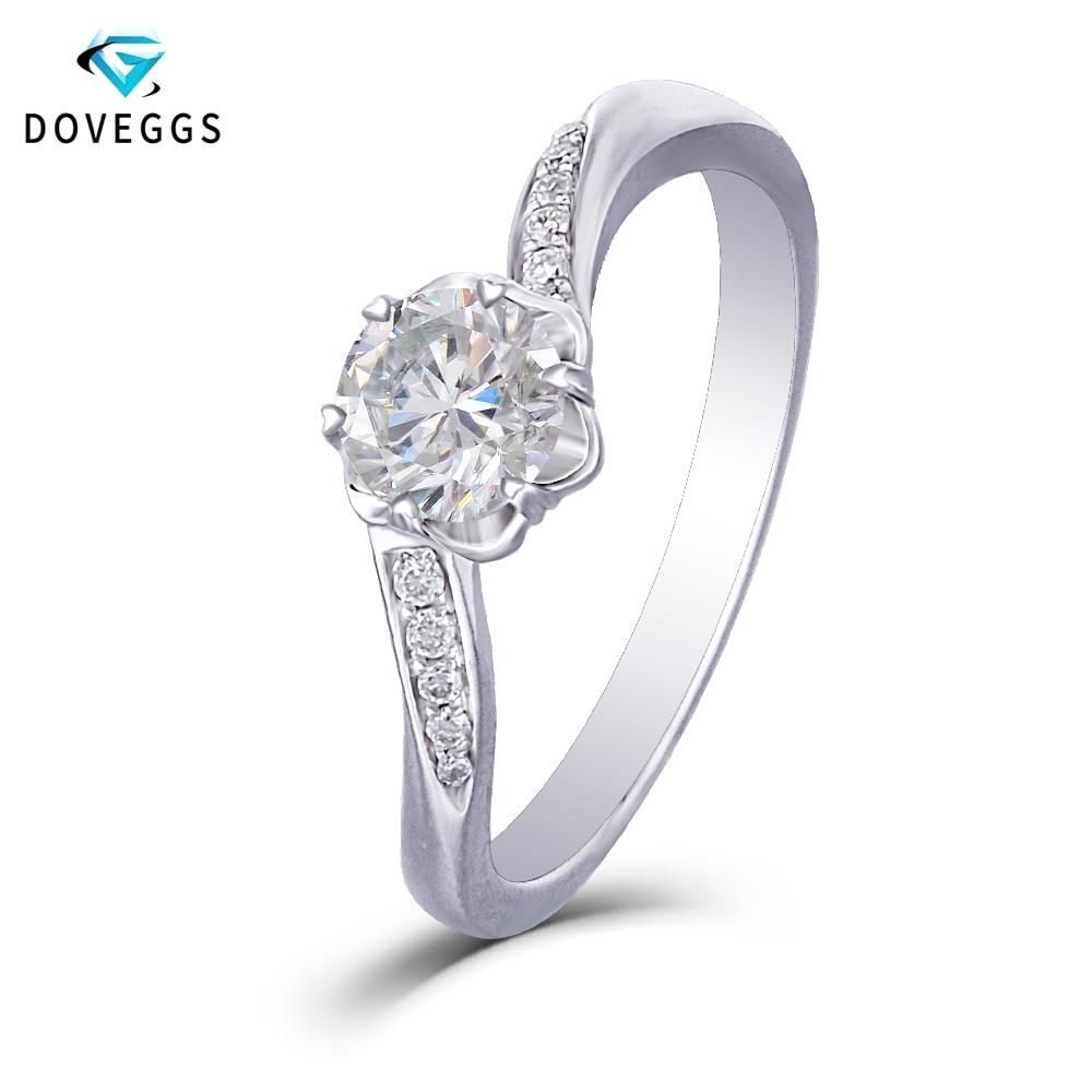 DovEggs Trendy 14K 585 White Gold Center 0 5ct Carat 5mm F Color Moissanite Diamond Engagement