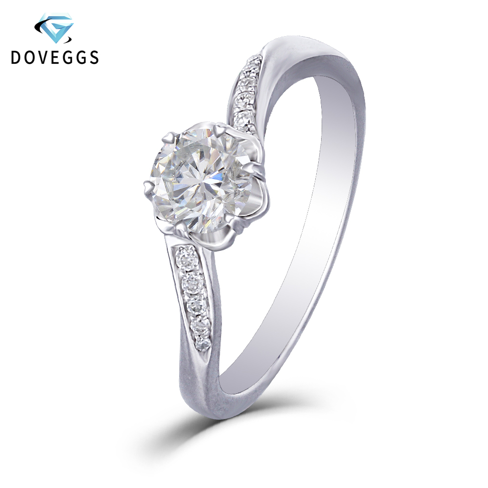 DovEggs Trendy 14K 585 White Gold Center 0.5ct Carat 5mm F Color Moissanite Diamond Engagement Rings For Women with Accents-in Rings from Jewelry & Accessories    1