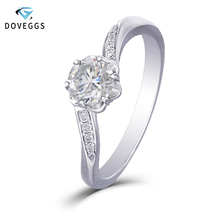 DovEggs Trendy 14K 585 White Gold Center 0.5ct Carat 5mm F Color Moissanite Diamond Engagement Rings For Women with Accents