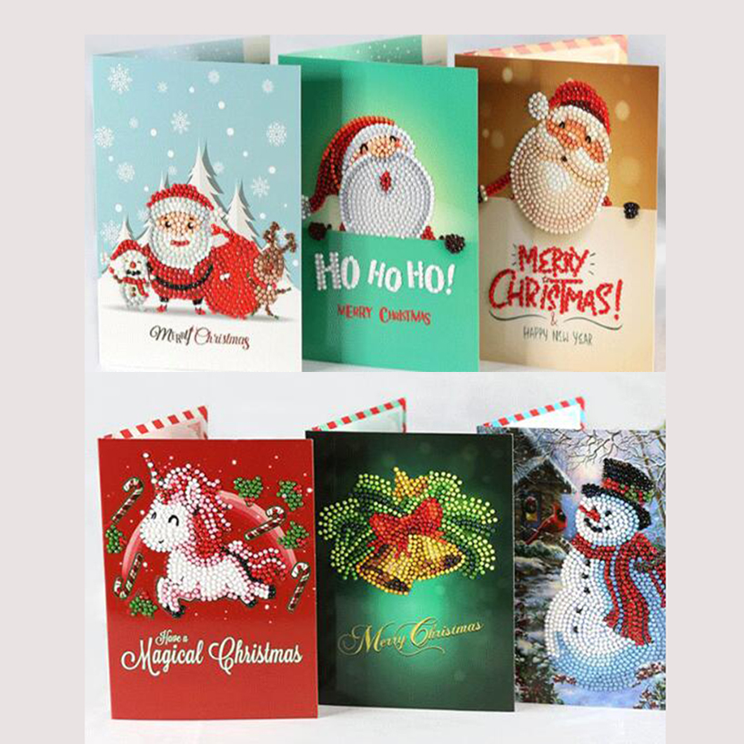 Christmas Greeting Cards Images.Us 2 46 18 Off 5d Diy Diamond Painnting Christmas Greeting Cards Full Round 3d Greeting Card Diy Painting Kits Diamond Painting Christmas Cards In