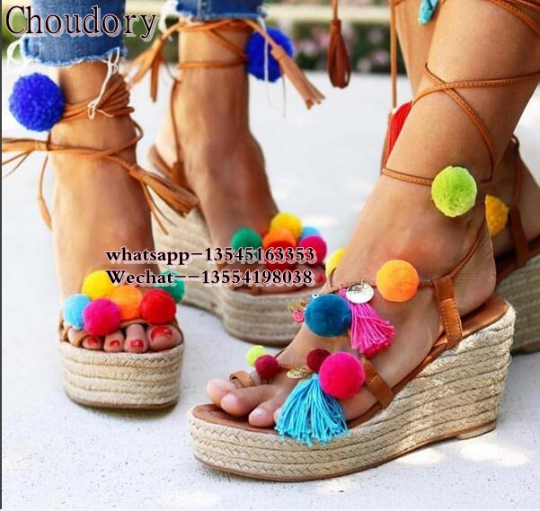 Luxury Brand Colorful Pom Pom Sandals 2018 Espadrilles Wedge Sandals Platform Lace up Gladiator Sandals Women Shoes Summer bowtie hemp black ankle strap white canvas espadrilles shoes bow flats fisherman sandals ladies lace up women straw cute pom pom