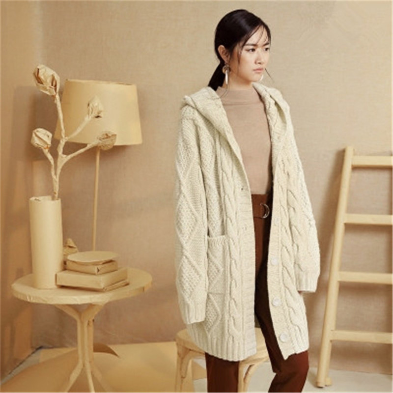 100%hand Made Wool Blend Tknit Women Streetwear Hooded Solid Single Breasted Long Cardigan Sweater One&over Size