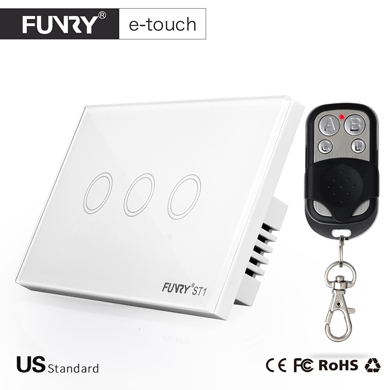 FUNRY ST1-US Remote Control 3Gang 1Way 3 Color Touch Switch Wall Switch with Glass Panel for Home Automation Free Shipping funry st2 us remote control wall switch 2 gang 1 way glass panel smart touch switch for smart home free shipping