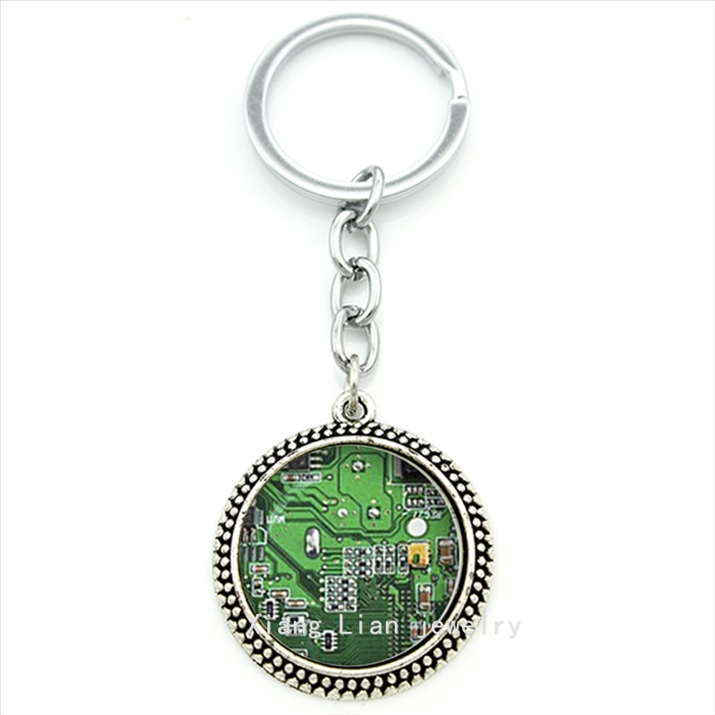 Silver jewelry key chain plated Computer green Circuit Board picture Computer font b Geek b font