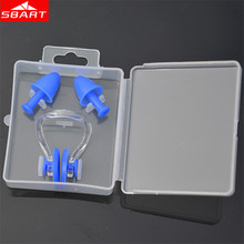SBART Swimming Ear Plugs Nose Clips Soft Silicone Silent Earplugs Water Sport Accessories Swimming Ear Plugs Nose Clips with Box